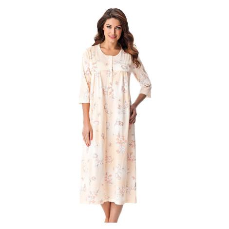 Dlouhá bavlněná noční košile s knoflíčky Lea lososová Dorota