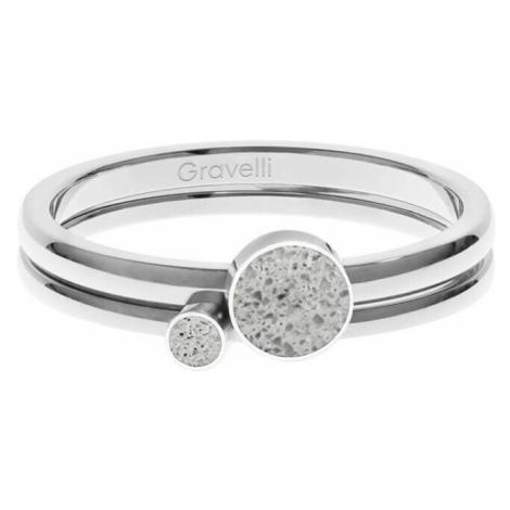 Gravelli Sada ocelových prstenů s betonem Double Dot ocelová/šedá GJRWSSG108