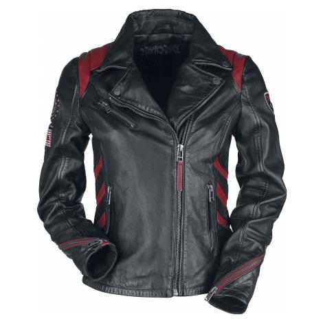Rock Rebel by EMP Schwarz/Rote Lederjacke im Biker-Stil mit Patches Dámská kožená bunda cerná/ce