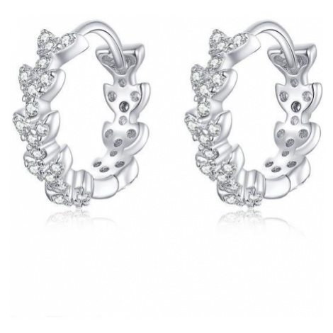 Linda's Jewelry Stříbrné náušnice kruhy Srdíčka Ag 925/1000 IN149