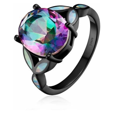 inda's Jewelry Stříbrný prsten Tajemná Květina černý s opálem Ag 925/1000 IPR065 Velikost: 57