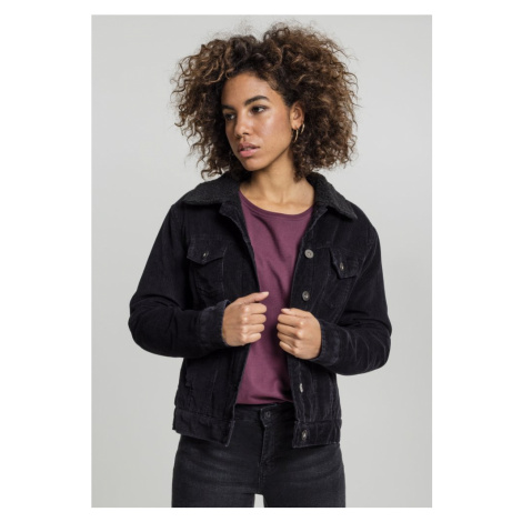 Ladies Sherpa Corduroy Jacket - black/black Urban Classics