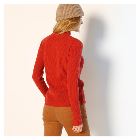 Blancheporte Žebrovaný pulovr se stojáčkem, délka cca 63 cm cihlová