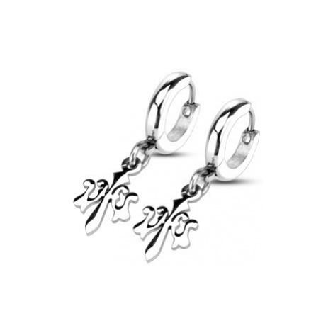 Kruhové náušnice stříbrné barvy, chirurgická ocel, přívěsek Fleur de Lis Šperky eshop