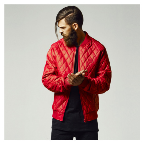 Urban Classics Diamond Quilt Leather Imitation Jacket fire red
