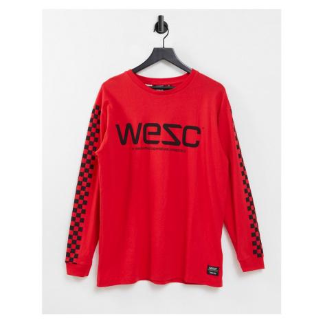 WESC Mason checkerboard long sleeve t-shirt-Red