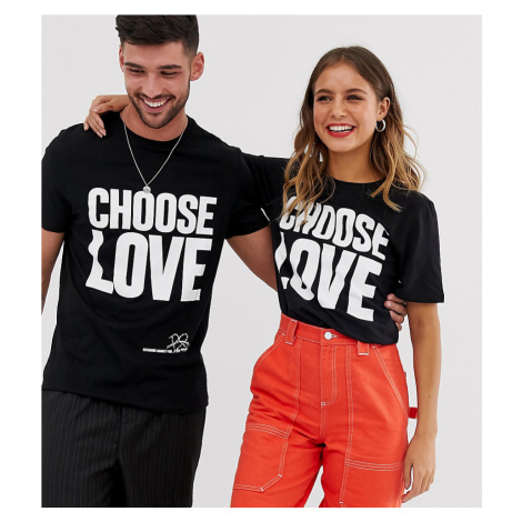 Help Refugees Choose Love t-shirt in black organic cotton