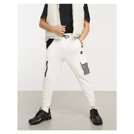 Bershka cargo joggers with mesh detail in white