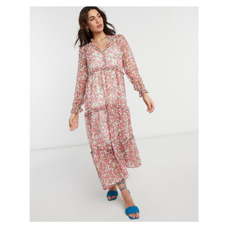 Neon Rose oversized maxi smock dress with tiered skirt in ditsy floral-White