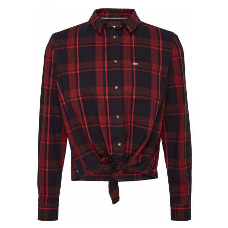 Tommy Hilfiger Tommy Jeans dámská červeno-černá košile s uzlem TJW CHECK FRONT KNOT SHIRT