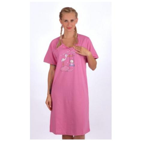 Dámská noční košile mateřská Vienetta Secret Čáp s houpačkou | fialová