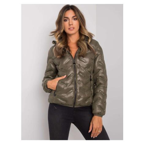 Women's khaki transitional jacket with a hood Fashionhunters