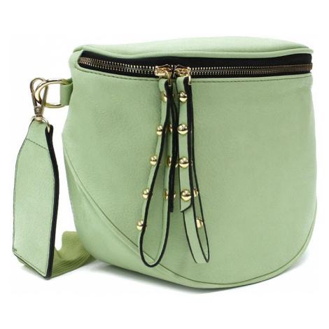 Světle zelená dámská kabelka ledvinka s výrazným kováním Jessamina New Berry