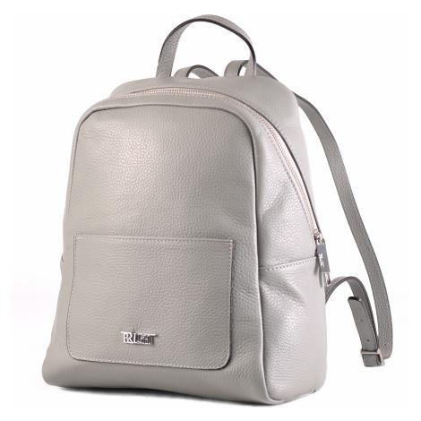 BRIGHT Dámský kožený batoh s kapsou Šedý, 26 x 13 x 31 (BR19-ANP8010-08DOL)