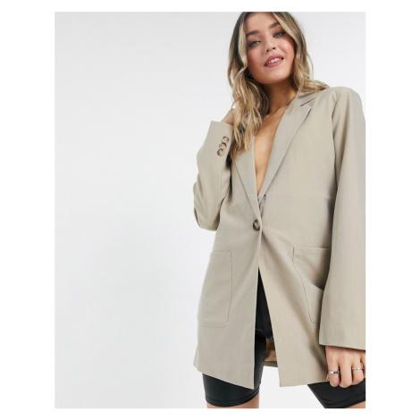 NA-KD oversized boxy blazer in beige