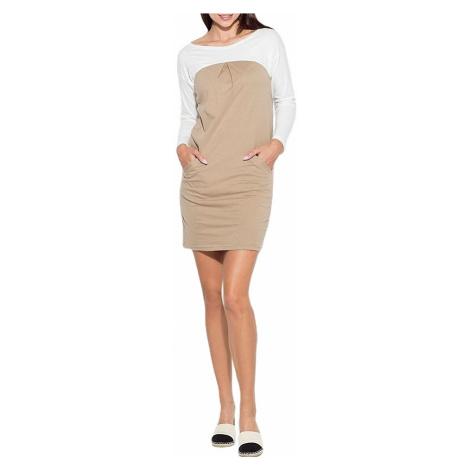 Béžové komfort šaty Katrus