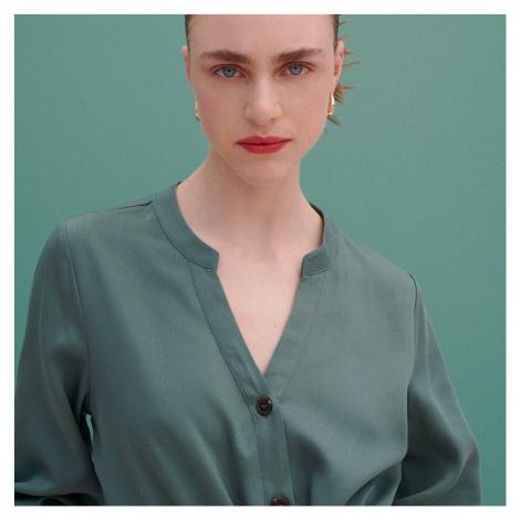 Reserved - Košilové šaty z Tencel™ Lyocellu - Tyrkysová