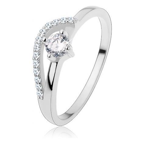 Zásnubní prsten ze stříbra 925, tenká ramena, zvlněná blýskavá linie, zirkon Šperky eshop