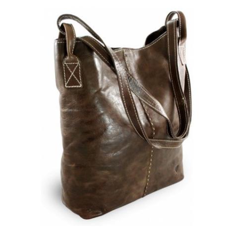 Hnědá velká kožená kabelka Zanti Arwel