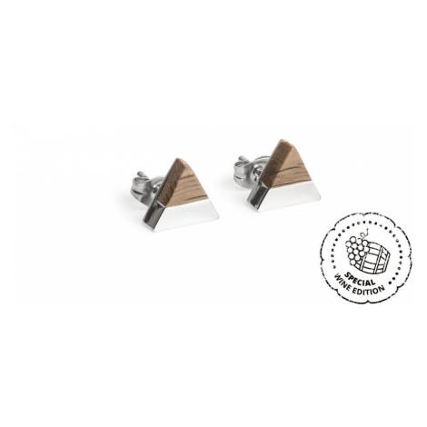 Náušnice s dřevěným detailem White Wine Silver Earrings BeWooden