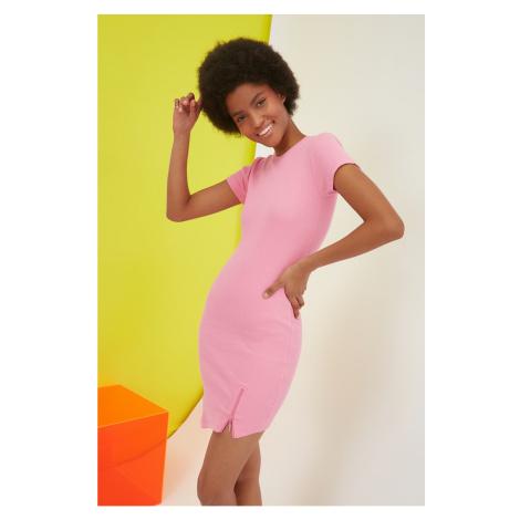 Trendyol Pink Zipper Detailed Asymmetric Knitted Dress