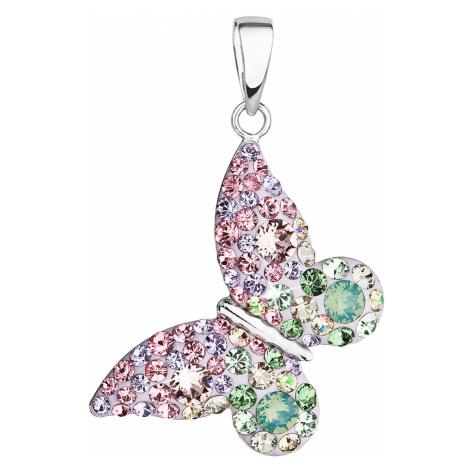 Stříbrný přívěsek s krystaly Swarovski mix barev motýl 34192.3 sakura Victum