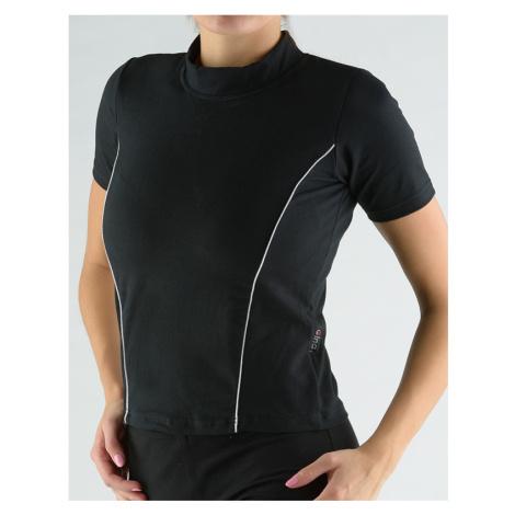 GINA Tričko se stojáčkem, krátkým rukávem, zdobení paspulemi 98005-MxCLGB Černá-šedobílá