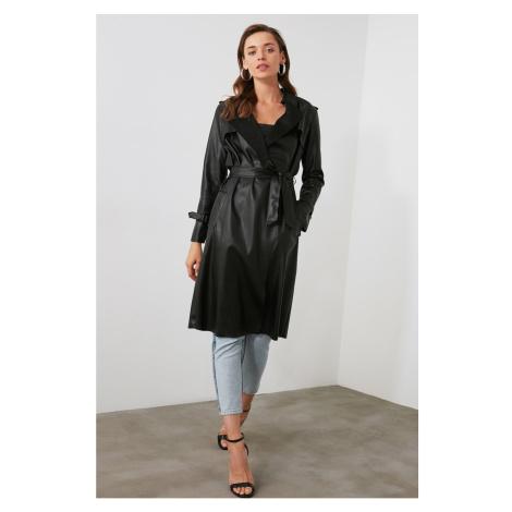 Trendyol Black Belt Fd leather trench coat