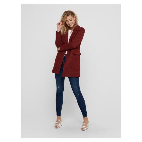 Cihlový vlněný kabát ONLY New