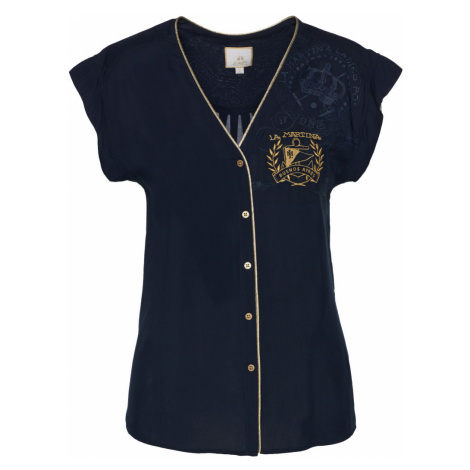 Košile La Martina Woman Shirt Cotton Satin - Modrá