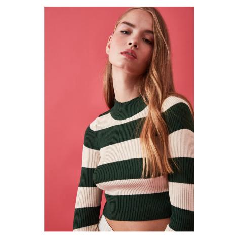 Trendyol Green Striped Crop Knitwear Sweater