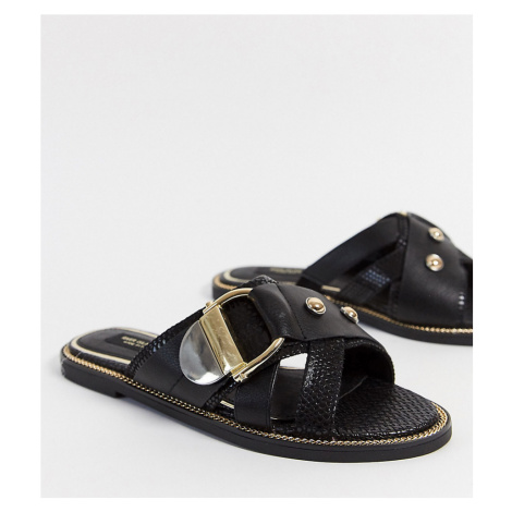 River Island Wide Fit crossover buckle detail flat sandal in black