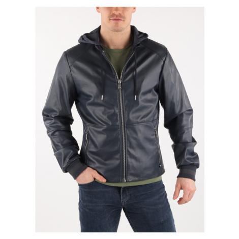 Bunda Trussardi Jacket With Hood Slim Fit Ecoleather Modrá