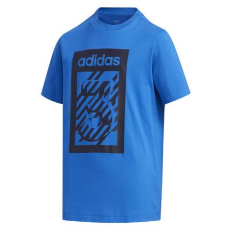 adidas YB BOX TEE modrá - Chlapecké tričko