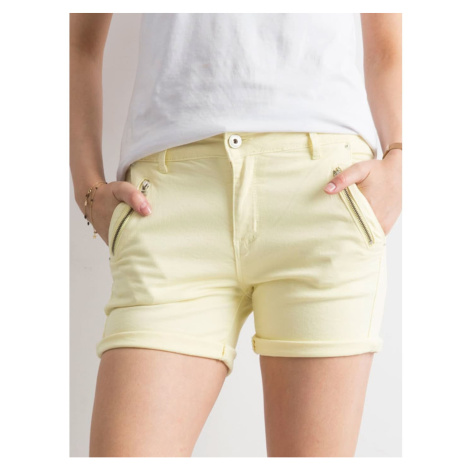 Light yellow denim shorts Fashionhunters