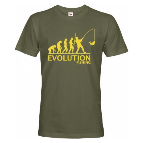 ⇒ Vtipné tričko pro rybáře s potiskem Rybářská evoluce BezvaTriko