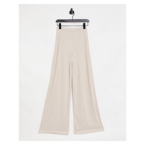 Club L London ribbed flared trousers in cream co-ord-Pink