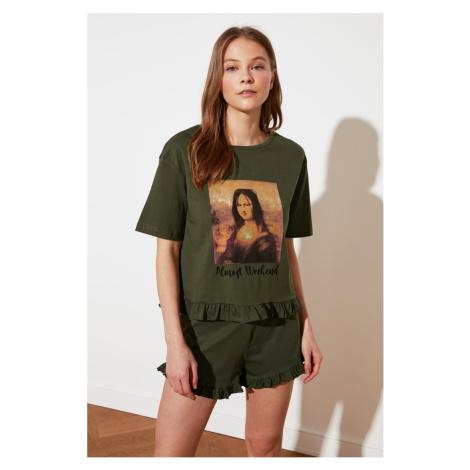 Trendyol Khaki Mona Lisa Printed Licensed Knitted Pajamas Set