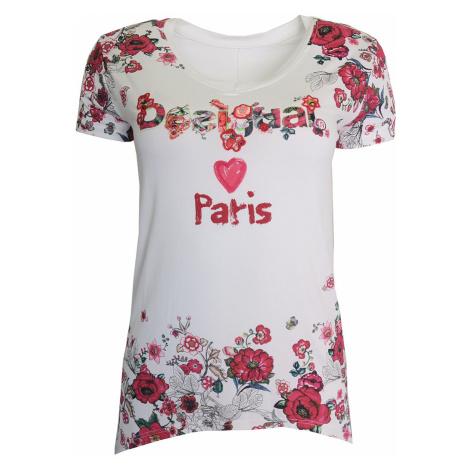 Desigual bílé triko s červenými květy
