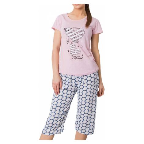 Světle fialové dámské pyžamo se srdíčky BASIC