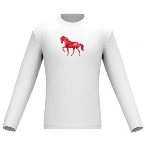 Pánské tričko dlouhý rukáv Kůň z polygonů