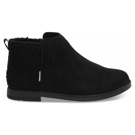 Black Suede/Plush Faux Shearling Deia Youth Bootie Toms