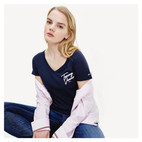 Tommy Jeans dámské tmavě modré tričko Essential