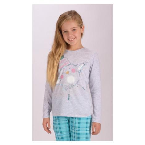 Dětské pyžamo dlouhé Vienetta Secert Vendy | šedá/lososová Vienetta Secret