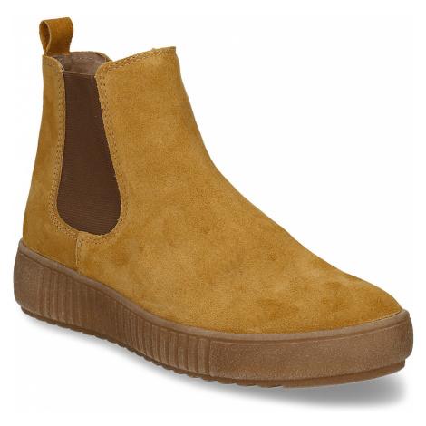 Žlutá kožená dámská kotníková Chelsea obuv Baťa
