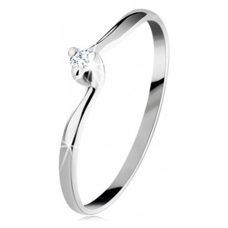 Zásnubní prsten v bílém 14K zlatě - čirý zirkon, úzká zahnutá ramena Šperky eshop