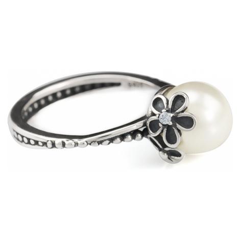 Linda's Jewelry Stříbrný prsten Perla s kvítky IPR015 Velikost: 54