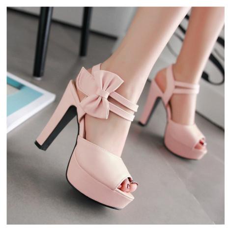 Společenské sandály plesové letní boty na podpatku s mašlí