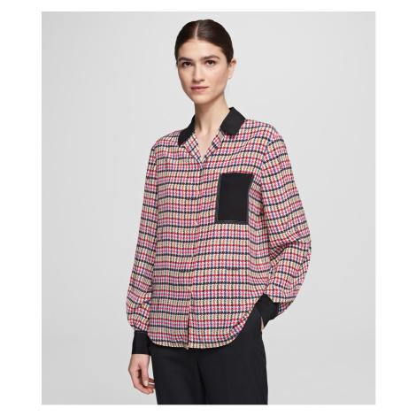 Košile Karl Lagerfeld Boucle Print Silk Blouse - Různobarevná