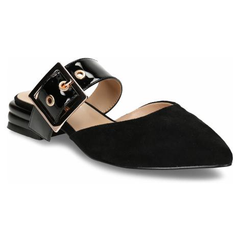 Černé dámské pantofle s koženou stélkou a kovovou přezkou Baťa